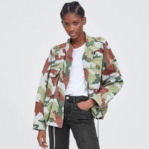 Zara NWT Camouflage Jacket Parka Size S